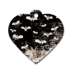 Vintage Halloween Bat Pattern Dog Tag Heart (two Sides) by Valentinaart