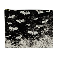 Vintage Halloween Bat Pattern Cosmetic Bag (xl) by Valentinaart