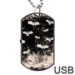 Vintage Halloween Bat Pattern Dog Tag Usb Flash (one Side) by Valentinaart