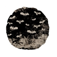 Vintage Halloween Bat Pattern Standard 15  Premium Flano Round Cushions by Valentinaart