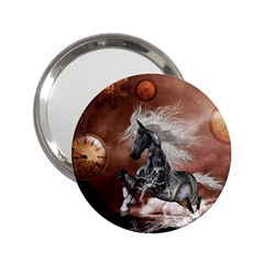 Steampunk, Awesome Steampunk Horse With Clocks And Gears In Silver 2 25  Handbag Mirrors by FantasyWorld7