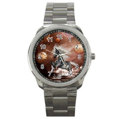 Steampunk, Awesome Steampunk Horse With Clocks And Gears In Silver Sport Metal Watch by FantasyWorld7