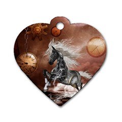 Steampunk, Awesome Steampunk Horse With Clocks And Gears In Silver Dog Tag Heart (one Side) by FantasyWorld7