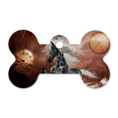 Steampunk, Awesome Steampunk Horse With Clocks And Gears In Silver Dog Tag Bone (two Sides) by FantasyWorld7