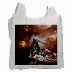 Steampunk, Awesome Steampunk Horse With Clocks And Gears In Silver Recycle Bag (two Side)  by FantasyWorld7