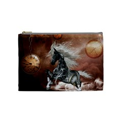 Steampunk, Awesome Steampunk Horse With Clocks And Gears In Silver Cosmetic Bag (medium)  by FantasyWorld7