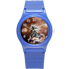 Steampunk, Awesome Steampunk Horse With Clocks And Gears In Silver Round Plastic Sport Watch (s) by FantasyWorld7