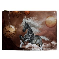 Steampunk, Awesome Steampunk Horse With Clocks And Gears In Silver Cosmetic Bag (xxl)  by FantasyWorld7