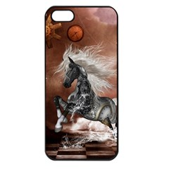Steampunk, Awesome Steampunk Horse With Clocks And Gears In Silver Apple Iphone 5 Seamless Case (black) by FantasyWorld7