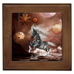 Steampunk, Awesome Steampunk Horse With Clocks And Gears In Silver Framed Tiles by FantasyWorld7