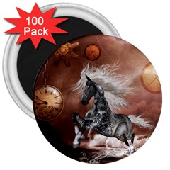 Steampunk, Awesome Steampunk Horse With Clocks And Gears In Silver 3  Magnets (100 Pack) by FantasyWorld7