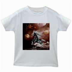 Steampunk, Awesome Steampunk Horse With Clocks And Gears In Silver Kids White T Shirts by FantasyWorld7