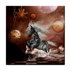 Steampunk, Awesome Steampunk Horse With Clocks And Gears In Silver Face Towel by FantasyWorld7