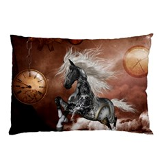 Steampunk, Awesome Steampunk Horse With Clocks And Gears In Silver Pillow Case by FantasyWorld7