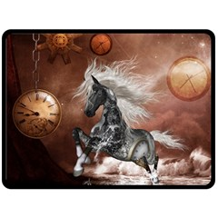 Steampunk, Awesome Steampunk Horse With Clocks And Gears In Silver Fleece Blanket (large)  by FantasyWorld7