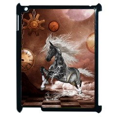 Steampunk, Awesome Steampunk Horse With Clocks And Gears In Silver Apple Ipad 2 Case (black) by FantasyWorld7