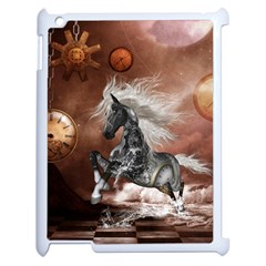 Steampunk, Awesome Steampunk Horse With Clocks And Gears In Silver Apple Ipad 2 Case (white) by FantasyWorld7