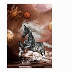 Steampunk, Awesome Steampunk Horse With Clocks And Gears In Silver Small Garden Flag (two Sides) by FantasyWorld7