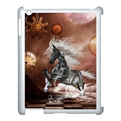 Steampunk, Awesome Steampunk Horse With Clocks And Gears In Silver Apple Ipad 3/4 Case (white) by FantasyWorld7