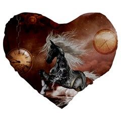 Steampunk, Awesome Steampunk Horse With Clocks And Gears In Silver Large 19  Premium Heart Shape Cushions by FantasyWorld7