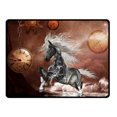 Steampunk, Awesome Steampunk Horse With Clocks And Gears In Silver Double Sided Fleece Blanket (small)  by FantasyWorld7