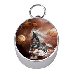 Steampunk, Awesome Steampunk Horse With Clocks And Gears In Silver Mini Silver Compasses by FantasyWorld7