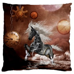 Steampunk, Awesome Steampunk Horse With Clocks And Gears In Silver Standard Flano Cushion Case (two Sides) by FantasyWorld7