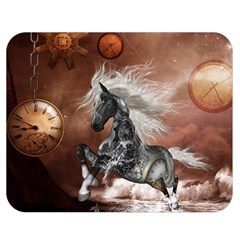 Steampunk, Awesome Steampunk Horse With Clocks And Gears In Silver Double Sided Flano Blanket (medium)  by FantasyWorld7