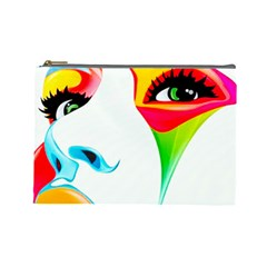 Colourful Art Face Cosmetic Bag (large)  by MaryIllustrations