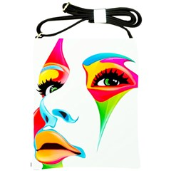 Colourful Art Face Shoulder Sling Bags by MaryIllustrations