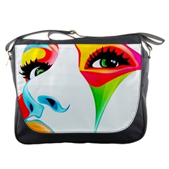 Colourful Art Face Messenger Bags by MaryIllustrations