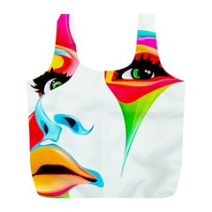 Colourful Art Face Full Print Recycle Bags (l)  by MaryIllustrations