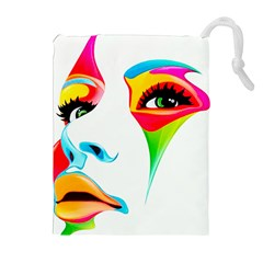 Colourful Art Face Drawstring Pouches (extra Large) by MaryIllustrations