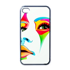 Colourful Art Face Apple Iphone 4 Case (black) by MaryIllustrations