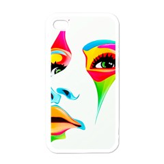 Colourful Art Face Apple Iphone 4 Case (white) by MaryIllustrations