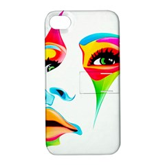 Colourful Art Face Apple Iphone 4/4s Hardshell Case With Stand by MaryIllustrations