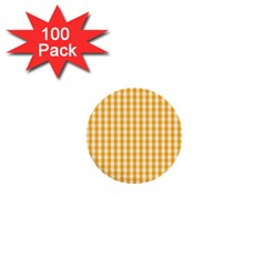 Pale Pumpkin Orange And White Halloween Gingham Check 1  Mini Buttons (100 Pack)  by PodArtist