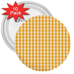 Pale Pumpkin Orange And White Halloween Gingham Check 3  Buttons (10 Pack)  by PodArtist