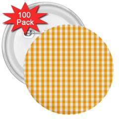 Pale Pumpkin Orange And White Halloween Gingham Check 3  Buttons (100 Pack)  by PodArtist