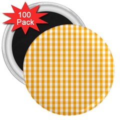 Pale Pumpkin Orange And White Halloween Gingham Check 3  Magnets (100 Pack)