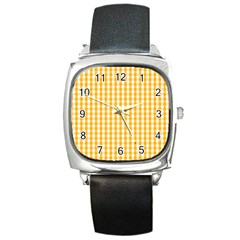 Pale Pumpkin Orange And White Halloween Gingham Check Square Metal Watch by PodArtist