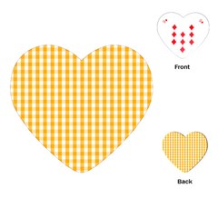 Pale Pumpkin Orange And White Halloween Gingham Check Playing Cards (heart)  by PodArtist