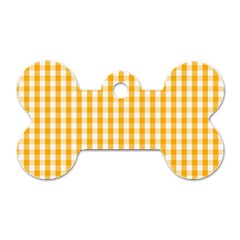 Pale Pumpkin Orange And White Halloween Gingham Check Dog Tag Bone (one Side) by PodArtist