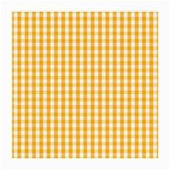 Pale Pumpkin Orange And White Halloween Gingham Check Medium Glasses Cloth (2 Side) by PodArtist