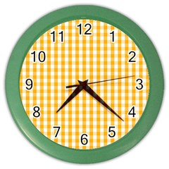 Pale Pumpkin Orange And White Halloween Gingham Check Color Wall Clocks by PodArtist