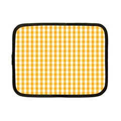 Pale Pumpkin Orange And White Halloween Gingham Check Netbook Case (small)  by PodArtist