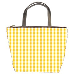 Pale Pumpkin Orange And White Halloween Gingham Check Bucket Bags by PodArtist