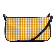 Pale Pumpkin Orange And White Halloween Gingham Check Shoulder Clutch Bags by PodArtist