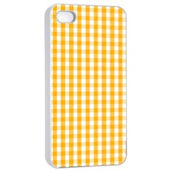 Pale Pumpkin Orange And White Halloween Gingham Check Apple Iphone 4/4s Seamless Case (white) by PodArtist