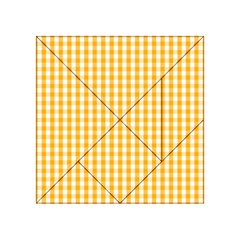 Pale Pumpkin Orange And White Halloween Gingham Check Acrylic Tangram Puzzle (4  X 4 ) by PodArtist